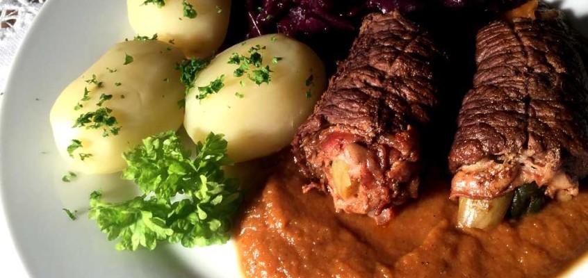 Rinderrouladen: Rullader av flatbiff, en tysk søndagsmiddag