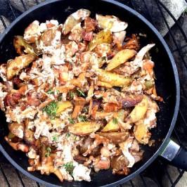 Polske kantareller, med poteter og bacon